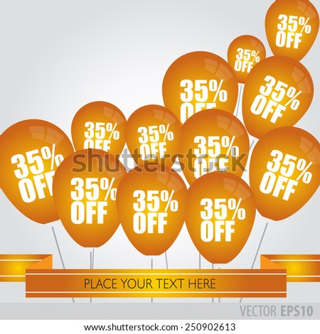Orange balloons With Sale Discounts 35 percent.