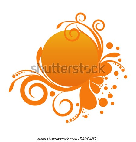 Orange banner with floral ornament for Your design - stock vector
