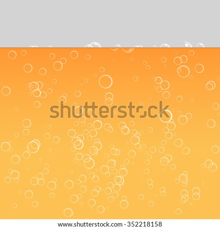 Orange beverage, beer. Bubbles in water on a yellow background. The bubble and the liquid, vector illustration - stock vector