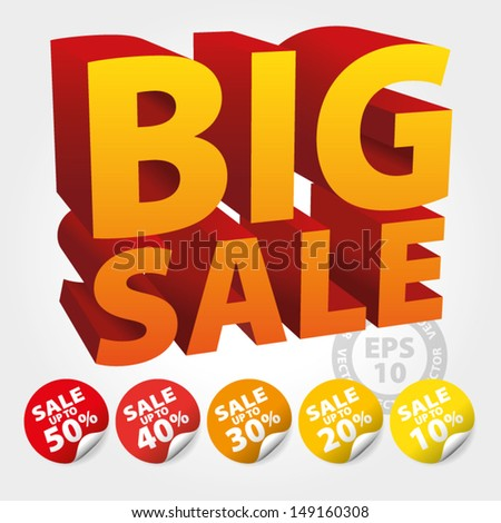 Orange Big Sale 3D Text with Save up to 10 - 50 percent on Stickers and tags : EPS10 Vector - stock vector