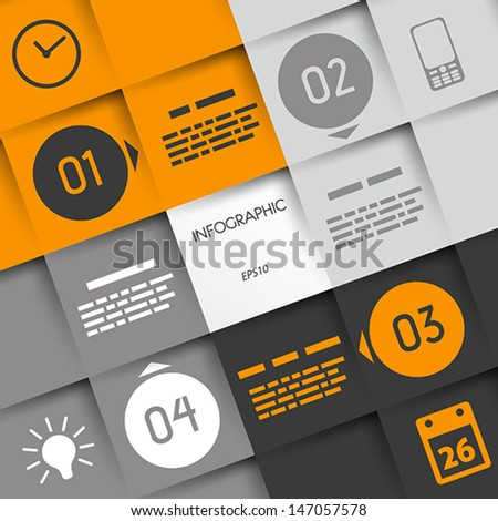 orange big square infographic four options with rings and business icons. infographic concept. - stock vector