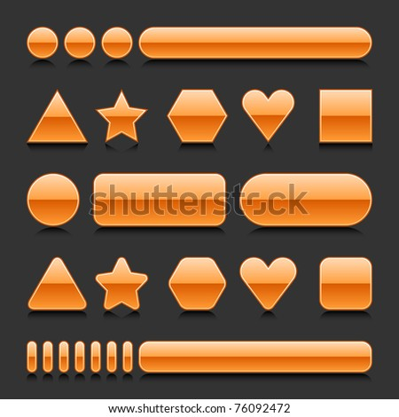 Orange blank web 2.0 geometric shape button metal various form with black reflection on gray background - stock vector