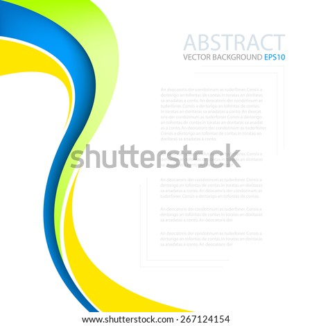 Orange blue and green curve wave line background on white space for text and message modern artwork design - stock vector