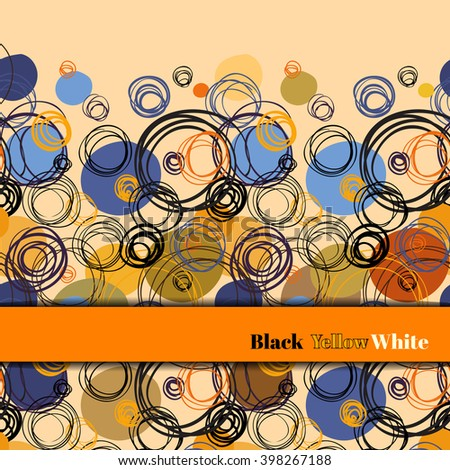 Orange blue geometric abstract horizontal border stripe design background. Black orange blue hand drawn outline circles elegant background. For fabric packaging or wrapping paper vector graphic design - stock vector