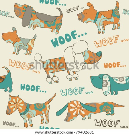 orange-blue seamless vector with  dogs - stock vector