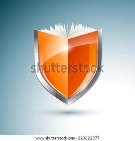 Orange book and shield vector illustration