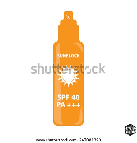Orange Bottle Spray SPF 40 PA+++ For Skin And Face Sun Block Icon Isolated on White Background - Vector illustration. - stock vector