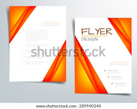 Orange brochure template vector background flyer design with orange paper concept elements overlap on white space and sample text for text and message brochure artwork design in A4 size - stock vector