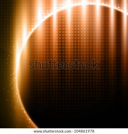 Orange-brown light effects on metal pattern design - vector background - stock vector