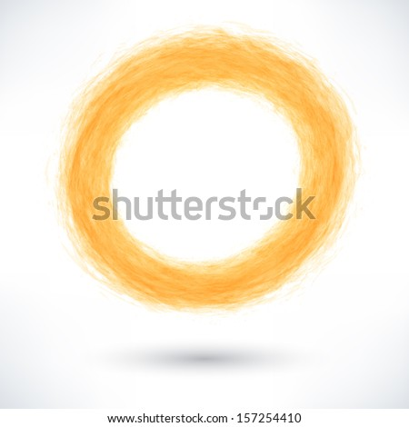 Orange brush stroke in the form of a circle with gray shadow. Abstract ring shape. Drawing created in ink sketch handmade technique. Vector illustration graphics design element 10 eps - stock vector