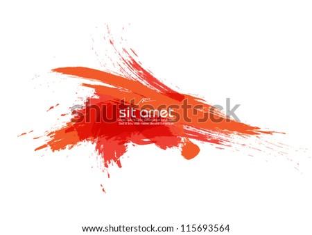 orange brush stroke vector banner - stock vector