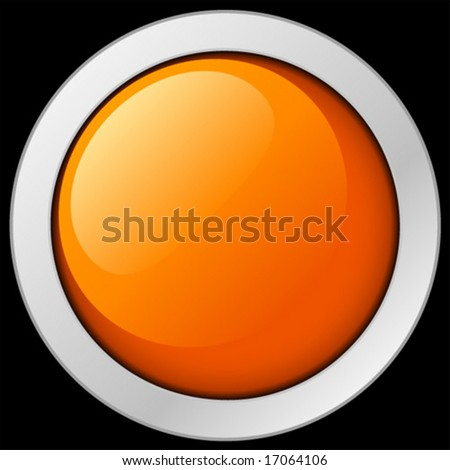 Orange button or icon. Vector Illustration. - stock vector