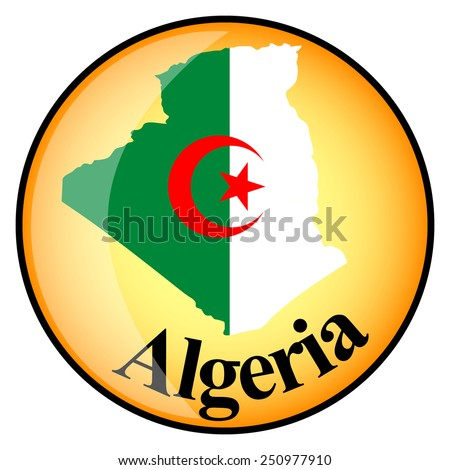 orange button with the image maps of Algeria in the form of national flag - stock vector
