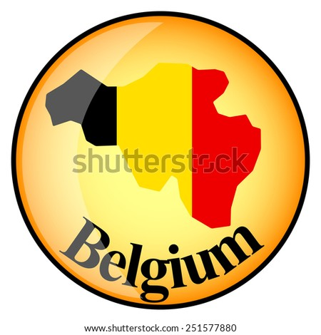 orange button with the image maps of button Belgium in the form of national flag - stock vector