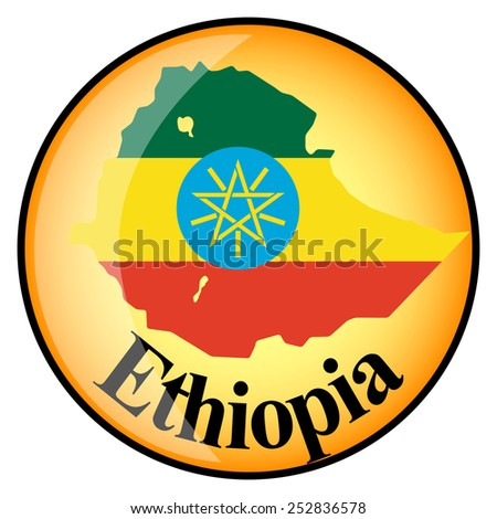 orange button with the image maps of button Ethiopia in the form of national flag - stock vector