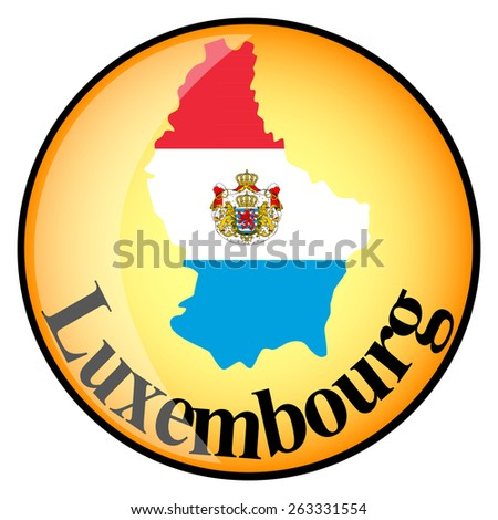 orange button with the image maps of Luxembourg in the form of national flag - stock vector