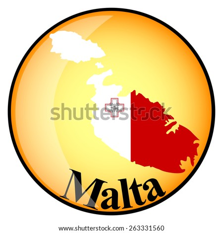 orange button with the image maps of Malta in the form of national flag - stock vector