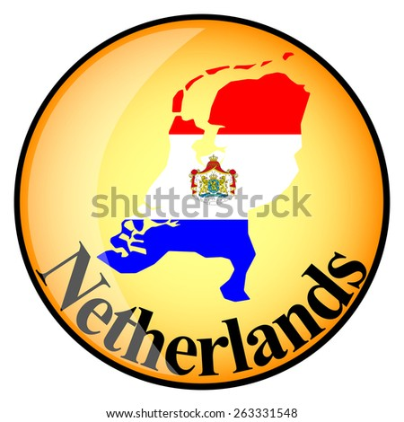 orange button with the image maps of Netherlands in the form of national flag - stock vector