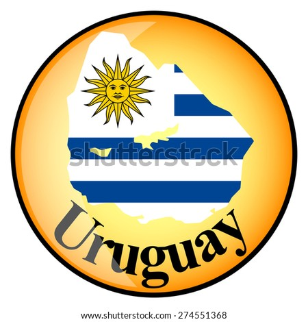 orange button with the image maps of Uruguay in the form of national flag - stock vector