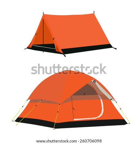 Orange camping tent vector set isolated, camping equipment - stock vector