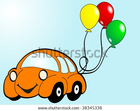 Orange car with balloons - vector illustration