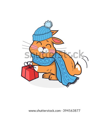 Orange cat in blue hat isolated design flat. Kitten animal cartoon cute pet funny, head cat drawing, image mascot, domestic colorful cat with gift box, wildlife mammal, breed comic vector illustration