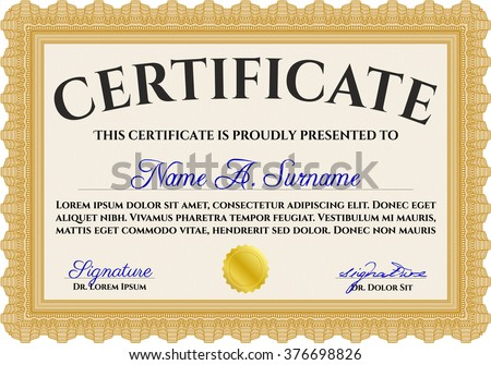 Orange Certificate Of Achievement Template. Money Design. With Guilloche  Pattern And Background. Diploma  Certificate Of Achievement Template