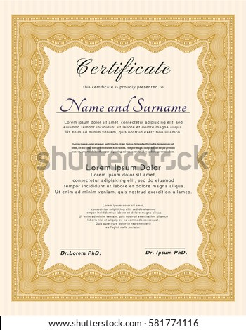 orange certificate template diploma template linear stock vector hd phd diploma template