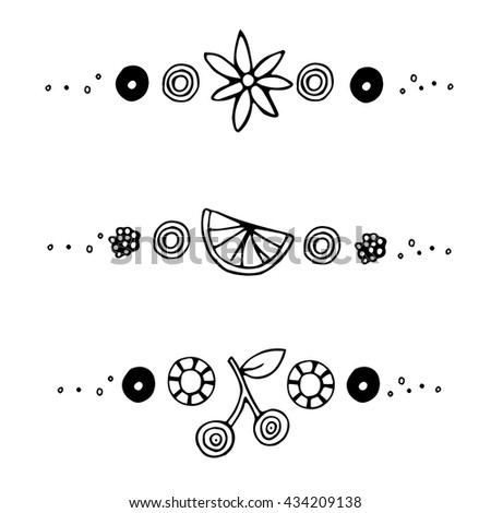 Orange, cherry, flower. Isolated separation elements for decoration. Design elements for menu / cafe / bakery / shop. Black and white hand drawing for menu. Vector doodle illustration.  - stock vector