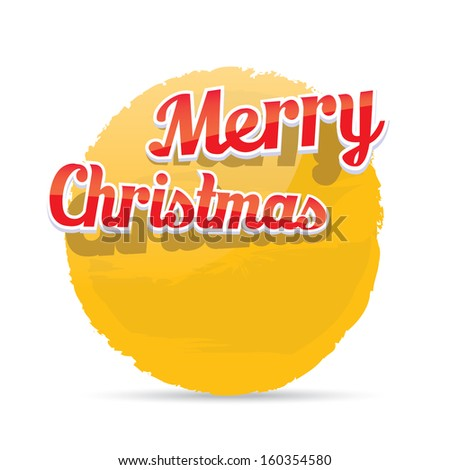 orange Christmas Greeting abstract grunge shape banner . Merry Christmas lettering, vector illustration for greeting card