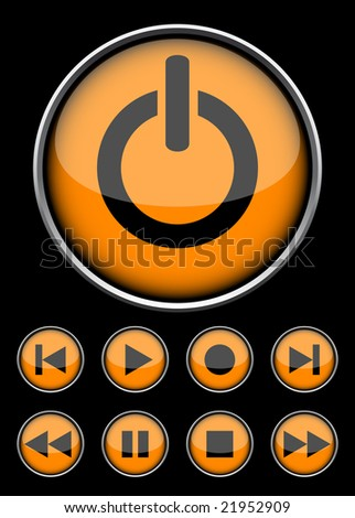Orange circle buttons for player. - stock vector