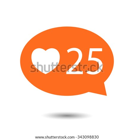 orange circle Like Counter Notification Icon with heart icon. vector illustration. mobile device. web elements  - stock vector