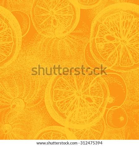 Orange citrus seamless wallpaper textile pattern.  - stock vector