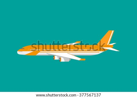 Orange civil aviation air plane. vector illustration isolated on green background