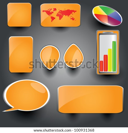 Orange collection of brightly colored, glossy web elements Perfect for adding your own text or icons. Blends used to create drop shadow effect. - stock vector
