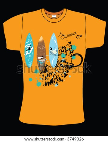 orange color t-shirt design with surfboard