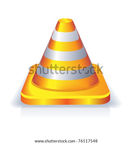 orange color traffic cone icon - stock vector