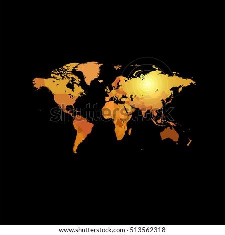 Dark gold map polygonal world map stock vector 527210683 orange color world map on black background globe design backdrop cartography element wallpaper gumiabroncs Gallery