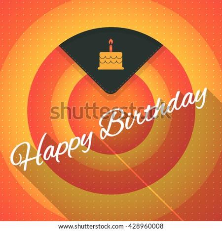 Orange Colors Movie Frames Style Happy Birthday Design, Vector Greeting Card - stock vector