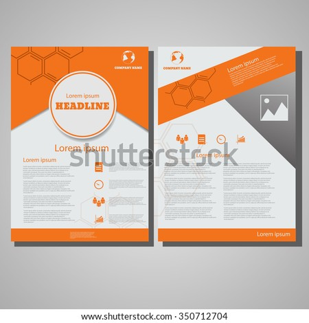 Orange colour Brochure Flyer design Layout template, size A4, Front page and back page design eps 10 vector illustration - stock vector