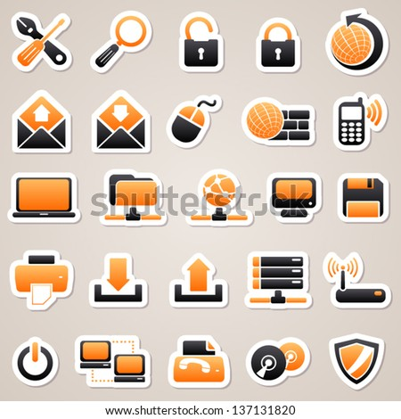 Orange computer stickers - stock vector