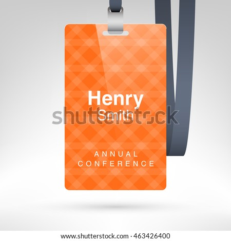 Red Conference Badge Name Tag Placeholder Stock Vector 463426409