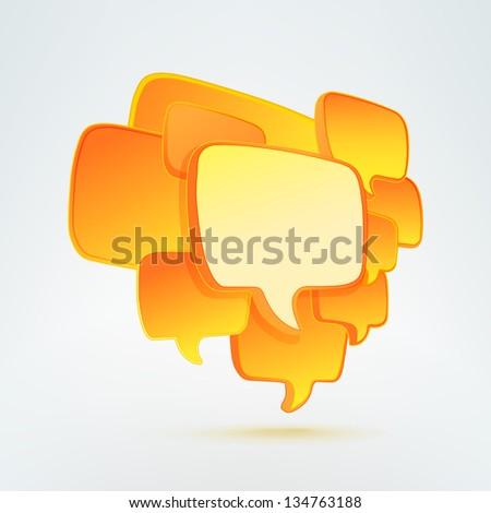 Orange copyspace speech bubble banner label composition, eps10 vector - stock vector