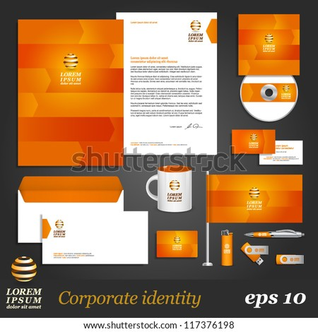Orange corporate identity template with arrows. Vector company style for brandbook and guideline. EPS 10 - stock vector