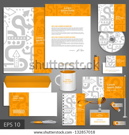 Orange corporate identity template with gray arrows. Vector company style for brandbook and guideline. EPS 10 - stock vector
