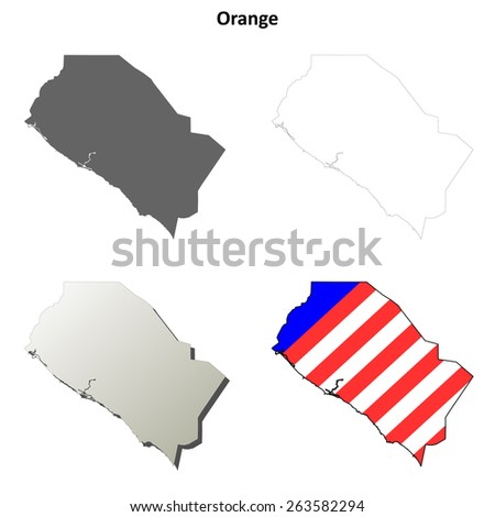 Orange County (California) outline map set - stock vector