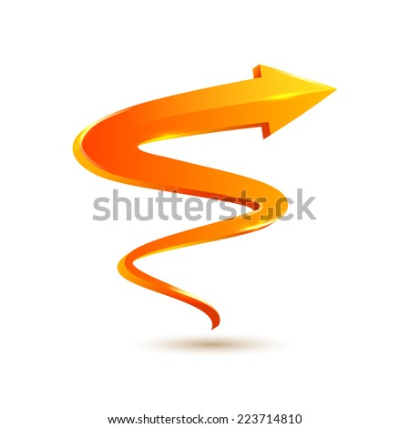 Orange curved arrow pointer. Vector illustration - stock vector
