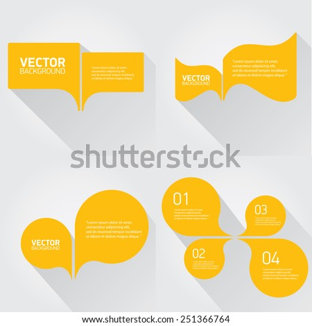 orange cut paper speech bubbles on white. speech bubbles set. vector illustration - stock vector