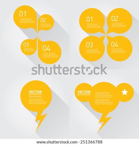 orange cut paper speech bubbles on white. speech bubbles set. vector illustration - stock vector