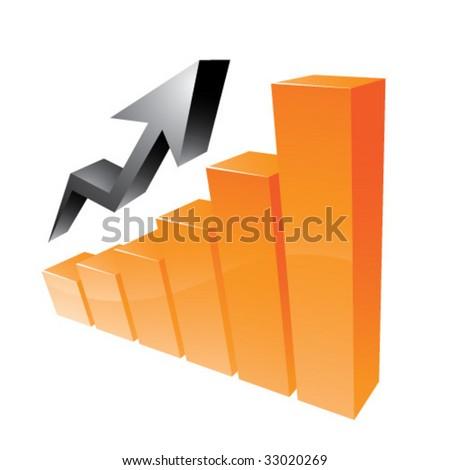 Orange 3D statistic chart graph - stock vector